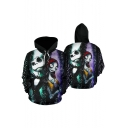 Popular Jack Skellington Green and Purple Comic Character 3D Printed Long Sleeve Pullover Hoodie