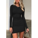 Elegant Ladies Solid Color Long Sleeve Crew Neck Drawstring Sides Mini Sheath Dress