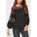 Stylish Ladies Sheer Mesh Patchwork Lace Pleated Keyhole Back Round Neck Bishop Long Sleeve Regular Fit Blouse Top