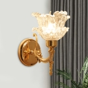 1 Light Flower Wall Lighting Ideas Traditional Brass Finish Clear Glass Wall Sconce for Corridor