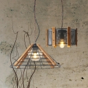 1 Light Cone/Drum Pendant Lamp Industrial Black Finish Metallic Hanging Ceiling Light with Wooden Panel, 11