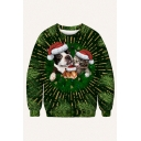 Cool Mens Green Pullover Sweatshirt Cat Dog Leaf Christmas Hat Ball 3D Pattern Long Sleeve Round Neck Regular Fitted Pullover Sweatshirt