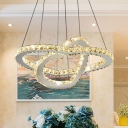 Living Room LED Chandelier Lamp Modern Chrome Pendant Light Kit with Loving Heart Beveled Crystal Shade in Warm/White Light