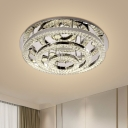 Chrome 3-Layer Ring Semi Flush Light Modern LED Crystal Close to Ceiling Lamp in Warm/White Light