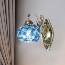Globe Wall Lighting Fixture 1/2 Bulbs Blue Stained Glass Mediterranean Wall Light Sconce with Mermaid Arm