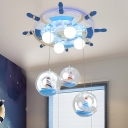 Multi Light Wheel Ship Ceiling Chandelier Nautical Boys Room Glass Shade Flush Mount Light in Blue
