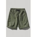 Cool Mens Shorts Solid Color Large Pocket Knee-Length Drawstring Waist Regular Fitted Cargo Shorts