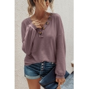 Casual Womens Solid Color Long Sleeve V-neck Button Up Knit Relaxed Fit T Shirt