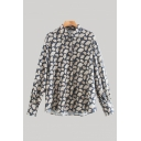 Stylish All Over Leaf Printed Long Sleeve Point Collar Button Up Relaxed Fit Shirt Top in Blue