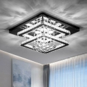 Simplicity LED Semi Mount Lighting Chrome Squared Ceiling Lamp with Clear Crystal Shade