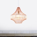 Crystal Block Urn Hanging Pendant Light Modern 1 Light Ceiling Suspension Lamp in Rose Gold