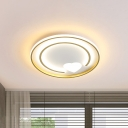 Minimalist LED Ceiling Mount Gold Circular Flushmount Light with Acrylic Shade for Bedroom