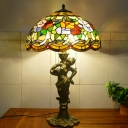 Cut Glass Bell/Bowl Night Table Lamp Baroque 3-Head Gold Pull Chain Nightstand Lighting with Resin Naked Woman Base