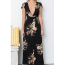 Women's Boho Deep V Neck Floral  Wrap Split Long Dress