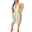 Fashion Vertical Stripe Printed V-Neck Short Sleeve Midi A-Line Dress