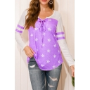 Casual Womens Star Striped Printed Color Block Hollow Out Lace-up Front Collarless Long Sleeve Relaxed T-shirt