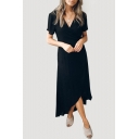 Elegant Plain V Neck Short Sleeve Asymmetric Hem Maxi Wrap Dress