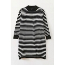 Novelty Ladies Checkered Striped Contrast Stitch Long Sleeve Crew Neck Midi Knitted T-shirt Dress in Black