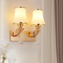Flared Wall Lighting Fixture Postmodern Frosted Glass 2-Light Living Room Wall Mounted Lamp in Gold