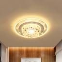 Blossom Flushmount Lighting Modern Style Crystal LED Chrome Ceiling Lamp for Corridor