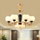 Globe Chandelier Modernism Milk Glass 6 Bulbs Dining Room Ceiling Suspension Lamp in Gold