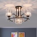 4 Lights Living Room Chandelier Modern Black Pendant Lighting with Cylinder Prismatic Crystal Shade