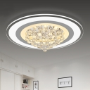 Cascading Flush Mount Light Contemporary Crystal Ball LED White Close to Ceiling Lighting