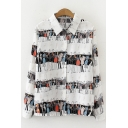 White Girls Creative Color Block Figure Print Single Breasted Turn Down Collar Long Sleeve Loose Shirt
