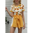 Womens Popular All Over Sunflower Printed Short Sleeve Crew Neck Relaxed Fit T Shirt & Bow Tied Waist Contrasted Shorts Co-ords in Yellow