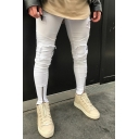 Men's Colorblock Knee Cut Zip Vent Stretch Slim Fit Ripped Jeans