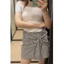 Summer Chic Check Tie-Side Fitted High Waist Mini A-Line Skirt for Womens