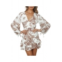 Stylish Floral Printed Ruffled Tie-Cuff Tie Back Backless Surplice Neck Bishop Long Sleeve Mini A-Line Dress for Women
