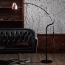 Modernism Dome Stand Up Lamp Metallic 1-Light Great Room Floor Reading Lighting with Fish Rod Arm in Black