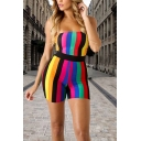 Classic Womens 3D Rompers Rainbow Striped Printed Strapless Slim Fitted Rompers