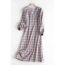 Stylish Purple Checkered Printed Blouson Sleeve V-neck Short A-line Dress for Girls