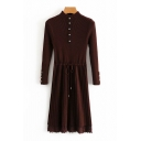 Vintage Ladies Plain Long Sleeve Mock Neck Button Up Knitted Drawstring Waist Lace Trim Mid A-line Pleated Dress