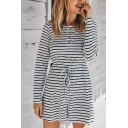 Basic Womens Rompers Striped Printed Drawstring Waist Rib Knitted Button Detail Long Sleeve Boat Neck Regular Fitted Rompers