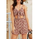 Basic Womens Rompers Ditsy Floral Pattern Tie Front Cut-out Spaghetti Straps Regular Fitted Rompers