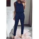 Classic Womens Jumpsuits Solid Color Tie-Waist Ankle Length Crew Neck Slim Fitted Sleeveless Tapered Jumpsuits