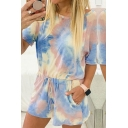 Basic Womens Rompers Tie Dye Drawstring Waist Half Sleeve Boat Neck Regular Fitted Rompers