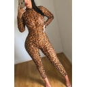 Novelty Womens Jumpsuits Leopard Skin Printed Mock Neck 7/8 Length Slim Fitted Long Sleeve Jumpsuits