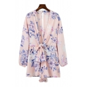 Basic Womens Rompers Floral Pattern Keyhole-Back Bow-Knot Detail V Neck Regular Fitted Long Bishop Sleeve Rompers