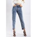 Retro Womens Jeans Acid Wash Asymmetric Hem High Waist Zipper Fly Slim Fit 7/8 Length Tapered Jeans