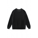 Cool Mens Pullover Sweatshirt Stitching Round Neck Long Sleeve Loose Fit Pullover Sweatshirt