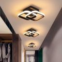 Double Round/Square Corridor Flush Light Aluminum Modern LED Semi Flush Ceiling Light in Black, Warm/White Light