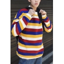 Color Block Striped Turtleneck Long Sleeve Loose Fit Mens Pullover Sweater