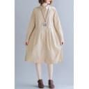Ladies Casual Solid Color Long Sleeve Turn Down Collar Button Up Mid Swing Shirt Dress