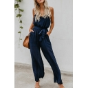 Womens Jumpsuits Trendy Plain Wide Leg Tie-Waist Sleeveless Spaghetti Strap Loose Fitted Jumpsuits