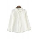 Formal Womens Solid Color Long Sleeve Bow Tied Neck Button Up Relaxed Fit Shirt Top