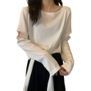 Chic Girls Solid Color Cut Out Long Sleeve Round Neck Loose T Shirt